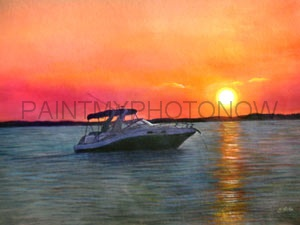 Watercolor Boat Painting
