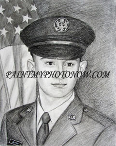 Charcoal drawing of army officer