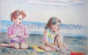 Color pencil drawing with beach backdrop