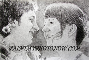 Charcoal art of couple photograph