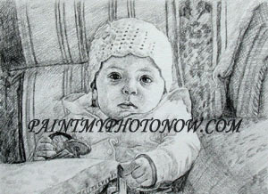 Charcoal drawing from Children photo