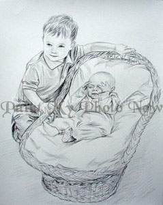 Drawn baby with cradle