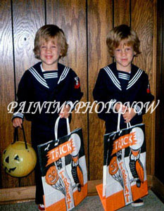 Twins with bags picture