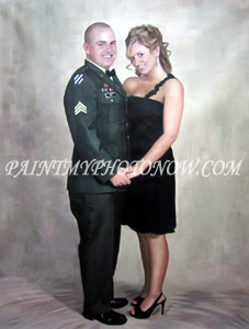 Painted portrait of military couple