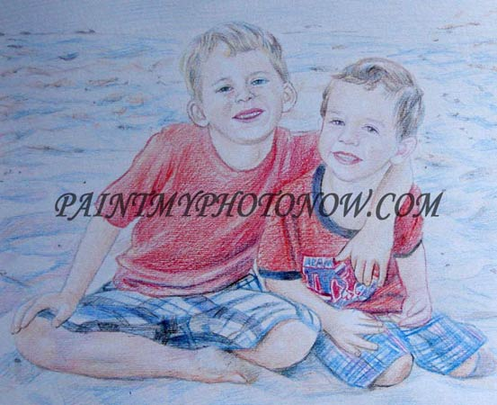Color pencil sketch of two boys