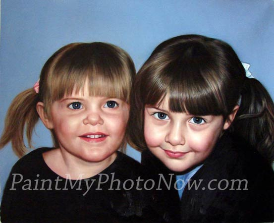 Oil painting of two girls