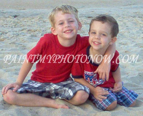 Two brothers playing in beach